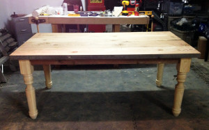 table assembled, but still unfinished wood